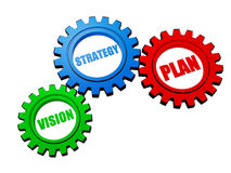 Vision, strategy, plan in color gears Royalty Free Stock Images