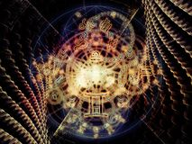 Vision of Symbolic Meaning. Astral Connection series. Abstract background made of Zodiac and fractal geometry symbols for use with projects on magic, sacred vector illustration