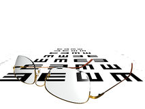 Vision Test. A pair of glasses on a vision chart Royalty Free Stock Image
