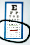 Vision test for glasses. This stock photo shows an eye chart and vision test from the patient's perspective, through glasses Royalty Free Stock Image