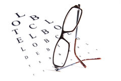 Vision testing chart and glasses Royalty Free Stock Photos