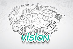 Vision text, With creative drawing charts and graphs business success strategy plan idea, Inspiration concept modern design templa. Te workflow layout, diagram Stock Image