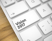 Vision 2017 - Text on White Keyboard Key. 3D. Business Concept: Vision 2017 on the Laptop Keyboard Background. Online Service Concept with Metallic Enter White Stock Images