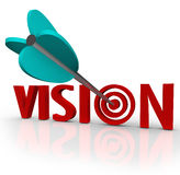 Vision Word Arrow Bull's Eye Targeting Unique Perspective. The word Vision with an arrow in a bulls-eye target to illustrate a unique perspective or focus on Stock Photography