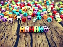 VISION word of colourful cube alphabets. royalty free stock photos