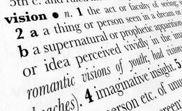 Vision word dictionary term. Vision word dictionary definition in great perspective Stock Photos