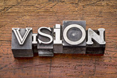 Vision word in metal type Royalty Free Stock Images