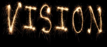 Vision word sparkler Royalty Free Stock Images