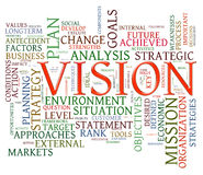 Vision word tags. Illustration of wordcloud representing words related to vision Stock Photos