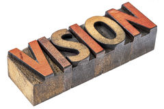Vision word in vintage wood type Royalty Free Stock Photography