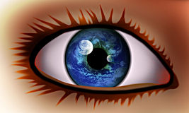The vision in the world. The eye feminine with the vision in the world Stock Image