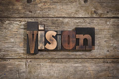 Vision written with letterpress type Stock Photography