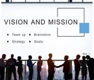 Vision y concepto de lanzamiento de las metas de la estrategia de la misión imagen de archivo libre de regalías