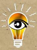 Vision y las ideas firman, icono del ojo, símbolo de la bombilla, símbolo de la búsqueda Fotos de archivo