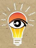 Vision y las ideas firman, icono del ojo, símbolo de la bombilla, símbolo de la búsqueda Fotos de archivo libres de regalías