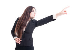 Visionary business woman pointing finger up. Isolated on white background royalty free stock images