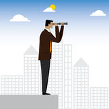 Visionary businessman or executive looking through binoculars - Stock Photo