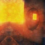 Visionary Ruin. Odd ruin with round and square window. Mandala overlay. Photo based illustration Stock Photo