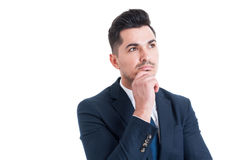Visionary sales manager thinking and looking up to the future Stock Photo