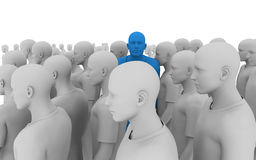 Divergent thinking. 3d illustration of a crowd of similar individuals, with one in the crowd looking sideways, and a different colour. Perfect for leadership royalty free illustration