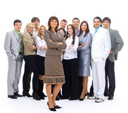 Visionary young business group. Business woman with his colleagues in the background stock image