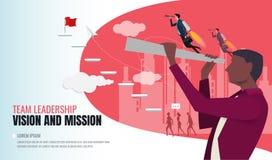 Visionbegrepp i affär med vektorsymbolen av affärsmannen och teleskopet stock illustrationer