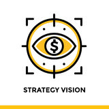 VISIONE di STRATEGIA lineare dell'icona di finanza, contante Pittogramma in ou Fotografia Stock