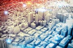 Visione futuristica della città rappresentazione 3d Fotografie Stock