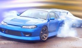Visione moderna della vettura da corsa della deriva della foto con l'imposizione di un effetto unico fotografia stock libera da diritti