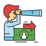 Visione strategica, tendenze future, uomo con il cannocchiale, concetto di strategia Fotografie Stock