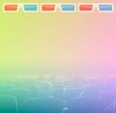 Visionneuses dans 3D la salle de cinéma, tonalité de RVB Photographie stock