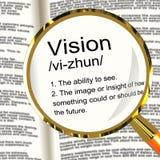 Visions-Definitions-Vergrößerungsglas, das Sehvermögen-oder Zukunft-Ziele zeigt Lizenzfreie Stockfotos