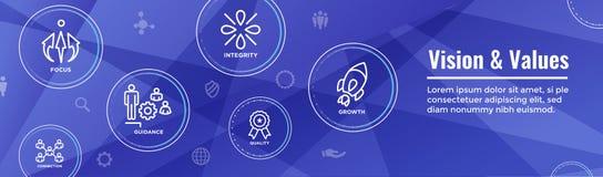 Visions-und Wert-Netz-Titel-Fahne mit Verbindung, Wachstum, Foc stock abbildung