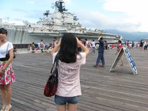 Visit the aircraft carrier of tourists in SHENZHEN Royalty Free Stock Image