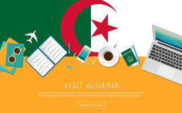 Visit Algeria concept for your web banner or. Visit Algeria concept for your web banner or print materials. Top view of a laptop, sunglasses and coffee cup on Stock Images
