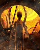 Visit of an Alien. 3D illustration concept background vector illustration