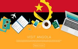 Visit Angola concept for your web banner or print. Visit Angola concept for your web banner or print materials. Top view of a laptop, sunglasses and coffee cup Royalty Free Stock Images