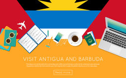 Visit Antigua and Barbuda concept for your web. Visit Antigua and Barbuda concept for your web banner or print materials. Top view of a laptop, sunglasses and Stock Photo