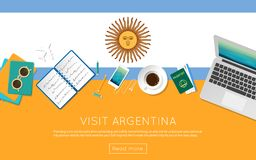 Visit Argentina concept for your web banner or. Visit Argentina concept for your web banner or print materials. Top view of a laptop, sunglasses and coffee cup Royalty Free Stock Photos
