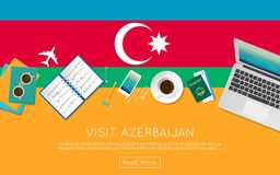 Visit Azerbaijan concept for your web banner or. Visit Azerbaijan concept for your web banner or print materials. Top view of a laptop, sunglasses and coffee Stock Images