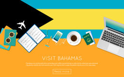 Visit Bahamas concept for your web banner or. Stock Photography