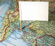 Visit Bangkok. Map of Bangkok (Krung Thep) with blank flag Royalty Free Stock Photo