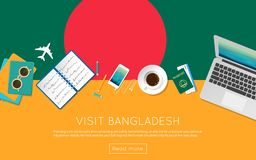 Visit Bangladesh concept for your web banner or. Visit Bangladesh concept for your web banner or print materials. Top view of a laptop, sunglasses and coffee Royalty Free Stock Images