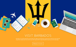 Visit Barbados concept for your web banner or. Stock Images