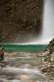 Visit beautiful waterfall kozjak hidden in canyon, julian alps, slovenia Stock Photos