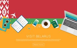Visit Belarus concept for your web banner or. Visit Belarus concept for your web banner or print materials. Top view of a laptop, sunglasses and coffee cup on Royalty Free Stock Image