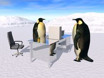 Visit of the boss. A the Penguin Company Stock Photography
