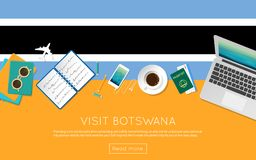 Visit Botswana concept for your web banner or. Visit Botswana concept for your web banner or print materials. Top view of a laptop, sunglasses and coffee cup on Royalty Free Stock Photography