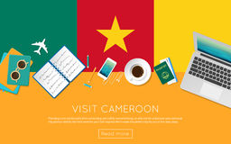 Visit Cameroon concept for your web banner or. Royalty Free Stock Photography