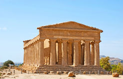 The visit card of Agrigento. The Concordia Temple is the visit card of Valley of the Temples, archaeological site in Agrigento, Sicily, Italy royalty free stock images